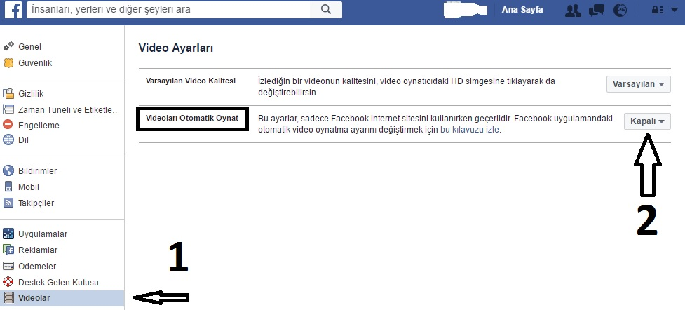 facebook otomatik video oynatma kapatma 1